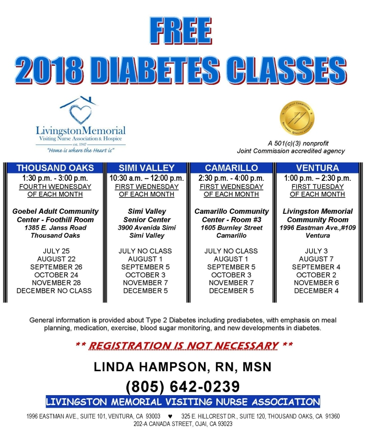 Diabetes Classes Flyer Linda JULY-DEC 2018 English