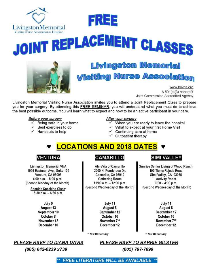 Joint Replacement Flyer 2018 July-Dec 2018